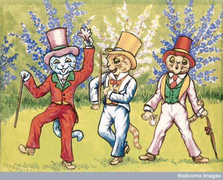 Three cats performing a song and dance act, Louis Wain
