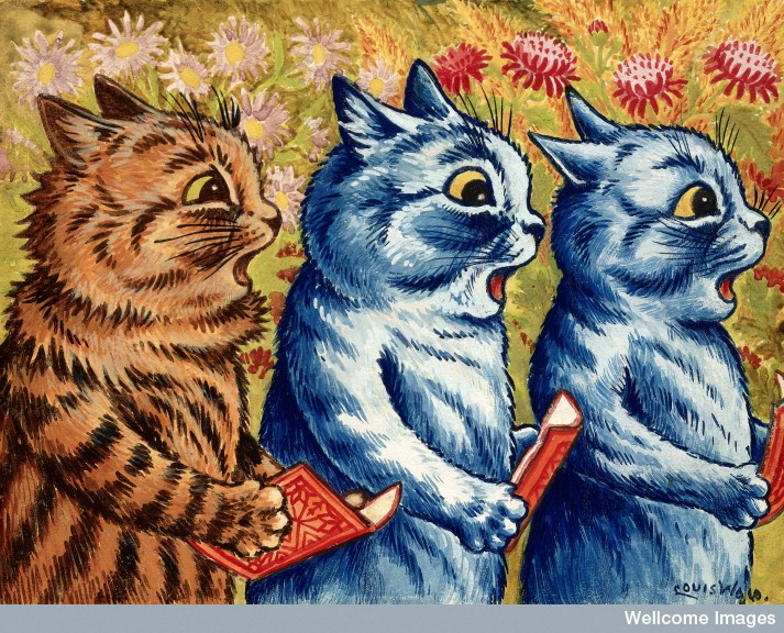 Three cats singing, Louis Wain